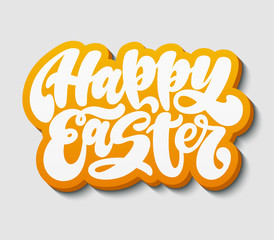 Happy Easter. Handwritten lettering phrase with 3d shadow. Graffiti calligraphic written style. Holiday poster, print, banner, wallpaper. Paper cut sticker.