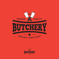 Butcher shop logo. Butchery store design element. Meat shop vector vintage illustration.