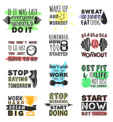 Sport gym, fitness, run motivational text quote phrases design hand drawn element banner gym crossfit trainings motivation text lettering. Work motivate sport concept message workout lifestyle