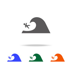 surfer falls from the wave icon. Element of Beach holidays multi colored icons for mobile concept and web apps. Thin line icon for website design and development, app development