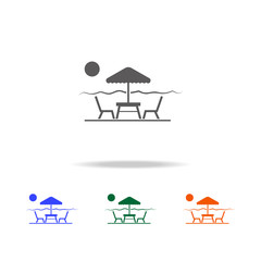 table and chairs under sun umbrella icon. Element of Beach holidays multi colored icons for mobile concept and web apps. Thin line icon for website design and development