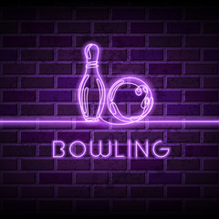 Neon bowling vector illustration. Glowing continuous line drawing of bowling ball, pin and letters on purple brick wall background.