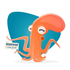 funny cartoon octopus with seafood sign