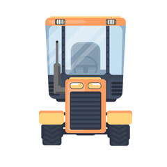 Tractor. Service vehicle. Front view vector illustration isolated on white background.