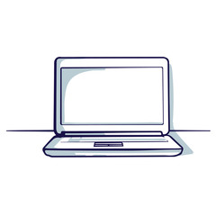 Laptop isolated on the white background. Hand drawn doodle cartoon vector illustration..