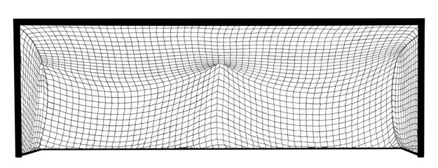 Soccer goal net construction vector silhouette illustration isolated on white background. Empty football goal.