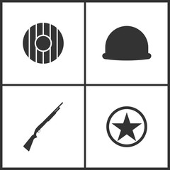 Vector Illustration of Weapon Set Icons. Suitable for use on web apps, mobile apps and print media. Elements of Shield, Soldier helmet, Shotgun and Sheriff star icon