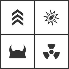 Vector Illustration of Weapon Set Icons. Suitable for use on web apps, mobile apps and print media. Elements of Military symbol, Explosion, Metallic Knight Helmet and Radiation icon
