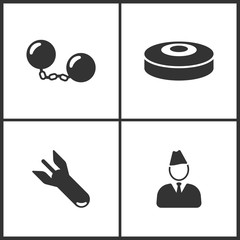 Vector Illustration of Weapon Set Icons. Suitable for use on web apps, mobile apps and print media. Elements of Bomb, Land mines, Bomb and Soldier icon