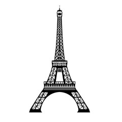 Vector ink black Eifel Tower hand drawn landmark symbol of Paris, France. Great for french invitations, greeting cards, postcards, gifts.