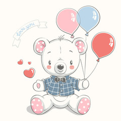 Cute little bear with balloons cartoon hand drawn vector illustration. Can be used for baby t-shirt print, fashion print design, kids wear, baby shower celebration, greeting and invitation card.