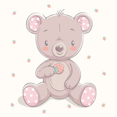 Cute little bear with a strawberry cartoon hand drawn vector illustration. Can be used for baby t-shirt print, fashion print design, kids wear, baby shower celebration, greeting and invitation card.