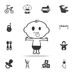 happy tongue out baby boy icon. Set of child and baby toys icons. Web Icons Premium quality graphic design. Signs and symbols collection, simple icons for websites, web design