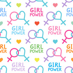 Seamless vector pattern with lesbian and feminist symbols. Girl power slogan. Female symbol.