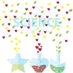 Science love leaf and star