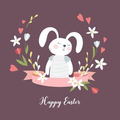 Card with cute cartoon Easter bunny. Vector illustration.