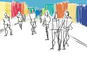 people in urban scene abstract sketch