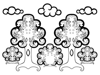 Clouds over the forest. Picture for coloring. coloring book for adult and older children