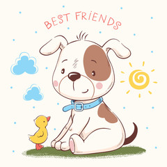 Cute puppy and duckling cartoon hand drawn vector illustration. Can be used for baby t-shirt print, fashion print design, kids wear, baby shower celebration, greeting and invitation card.