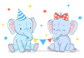 Cute elephants girl and boy cartoon hand drawn vector illustration. Can be used for baby t-shirt print, fashion print design, kids wear, baby shower celebration, greeting and invitation card.