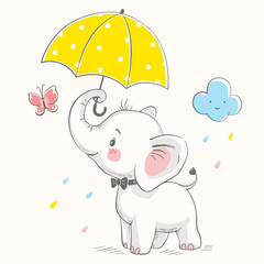 Cute elephant with umbrella cartoon hand drawn vector illustration. Can be used for baby t-shirt print, fashion print design, kids wear, baby shower celebration greeting and invitation card.