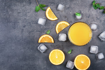 Beautiful composition with fresh orange juice on table, top view