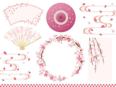 桜の和風フレーム素材セット