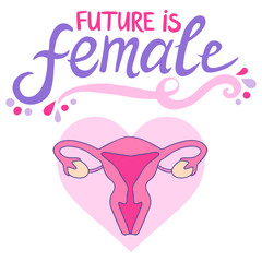 Future is female feminist slogan with the illustration of the female reproductive system
