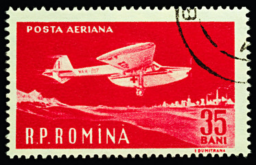 Red Cross aircraft on postage stamp