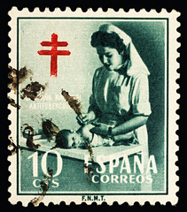 Nurse with child, Cross of Lorraine on postage stamp