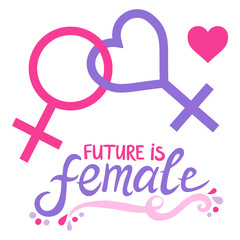 Future is female. Lesbian feminist symbol.