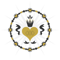 Black and golden royal circle ribbon heart with crown icon on white background