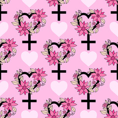 Seamless pattern with feminism symbol with floral ornament. Lovely vector illustration.