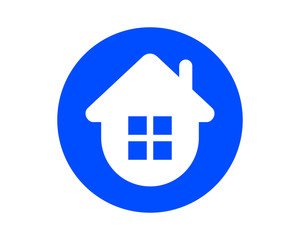 circle blue house housing home residence residential real estate image vector icon