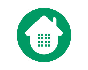 circle green house housing home residence residential real estate image vector icon