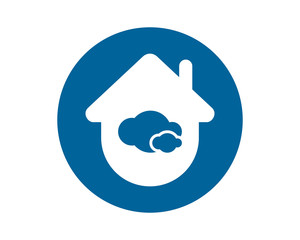 circle blue cloud house silhouette image vector icon logo