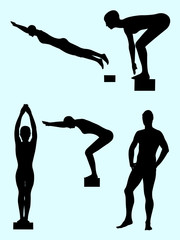 Swimmer gesture silhouette 02. Good use for symbol, logo, web icon, mascot, sign, or any design you want.