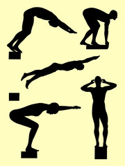 Swimmer gesture silhouette 01. Good use for symbol, logo, web icon, mascot, sign, or any design you want.