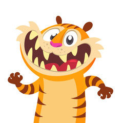 Happu cartoon vector tiger illustration. Cartoon animals set