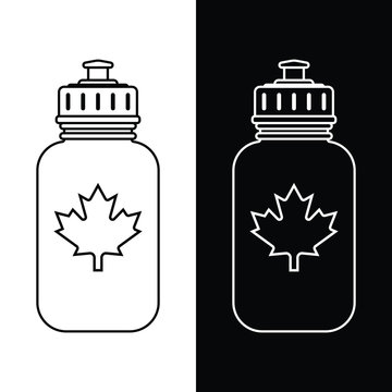 A classic hockey waterbottle icon with a maple leaf in vector format.