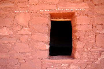 Door way in Ancient Anizazi ruins in canyon country in the desert of Southern Utah.