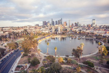 Stunning Aerial View of MacArthur Park and downtown Los Angeles