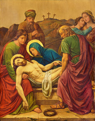LONDON, GREAT BRITAIN - SEPTEMBER 17, 2017: The burial of Jesus as the Station of the Cross in church of St. James Spanish Place by M. Jacob (1873).
