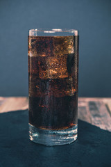 Glass of ice cold cola