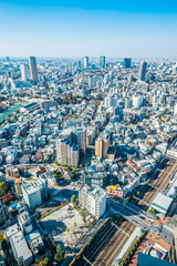 Asia Business concept for real estate and corporate construction - panoramic modern city skyline aerial view of tokyo under blue sky in Tokyo, Japan