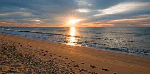 Golden sunrise over beach in San Jose Del Cabo in Baja California Mexico BCS