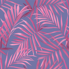 Tropical seamless pattern with pink palm leaves on purple background. Vector set of exotic tropical garden for wedding invitations, greeting card and fashion design.