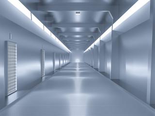 spaceship or science lap, sci-fi corridor blue color
