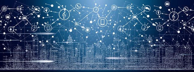 Smart City with Neon Buildings, Networks and Internet of Things Icons.