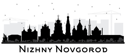 Nizhny Novgorod Russia City Skyline Silhouette with Black Buildings Isolated on White Background.